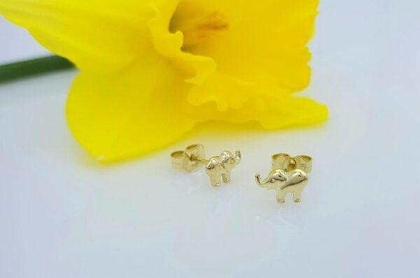 Otroški uhani iz rumenega zlata slonček