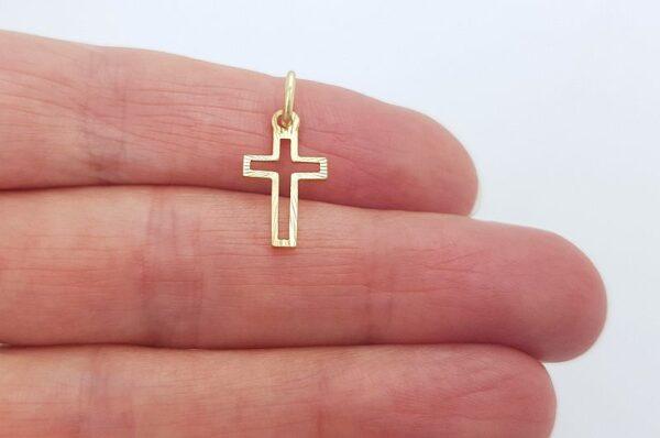 Otroški obesek iz rumenega zlata, mini križ z žarki