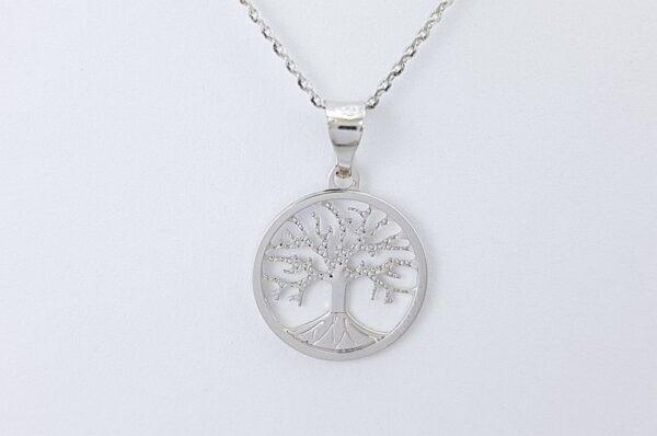 Ženski obesek iz belega zlata, drevo življenja 13 mm
