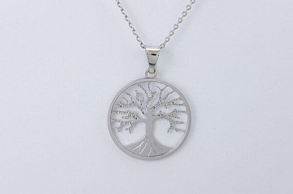 Ženski obesek iz belega zlata, drevo življenja 17 mm