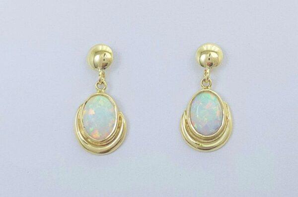 Ženski uhani iz rumenega zlata viseči bel sintetičen opal
