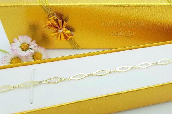 Ženska zapestnica iz rumenega zlata, ploščata, gladka