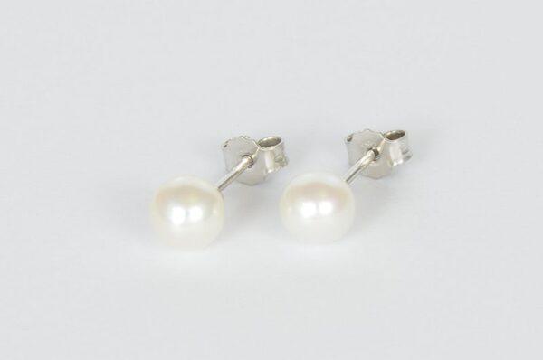Ženski uhani iz belega zlata | bel sladkovodni biser 6,5 mm