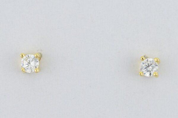 Ženski uhani iz rumenega zlata, okrogel cirkon