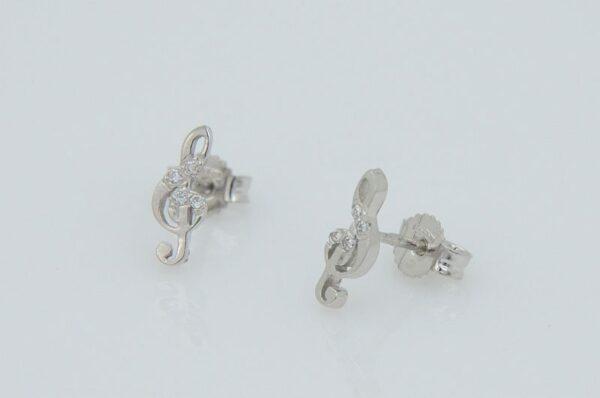 Ženski uhani iz belega zlata, violinski ključ s cirkoni