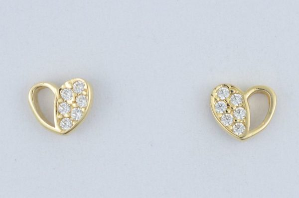 Ženski uhani iz rumenega zlata, srce s cirkoni