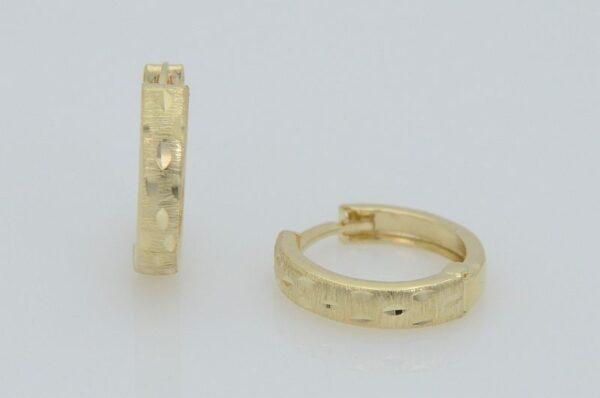 Ženski uhani iz rumenega zlata, okrogli, diamantirani