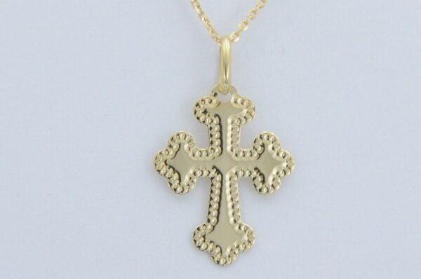 Otroški obesek iz rumenega zlata, pravoslavni križ