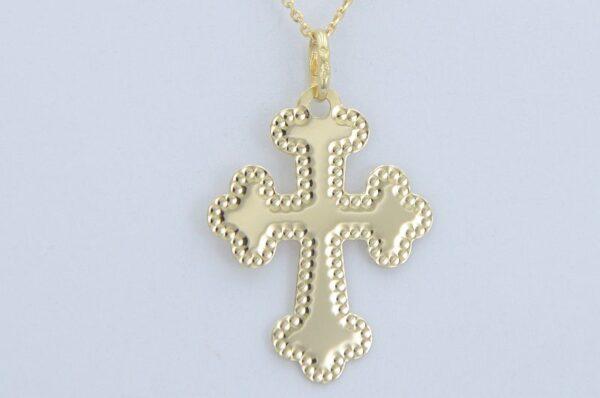 Moški obesek iz rumenega zlata, pravoslavni križ
