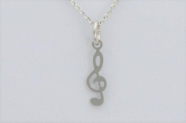 Ženski ali otroški obesek iz belega zlata, violinski ključ