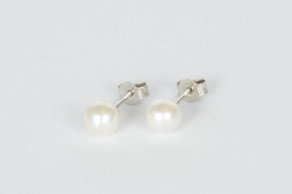 Ženski uhani iz belega zlata bel sladkovodni biser 6,5 mm