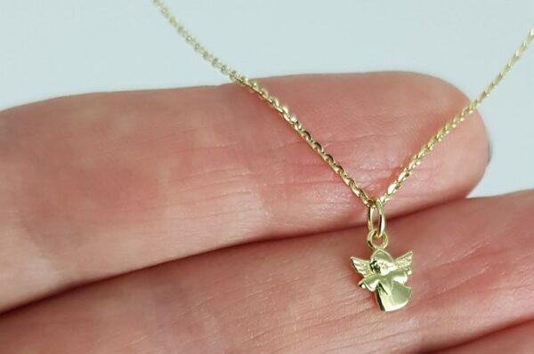 otroški obesek mini angel iz rumenega zlata