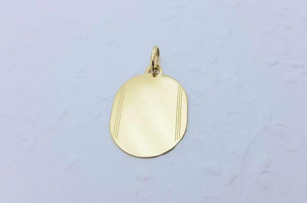 Moški obesek iz rumenega zlata ploščica
