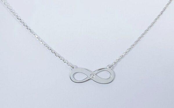 srebrna ženska verižica infinity neskončnost