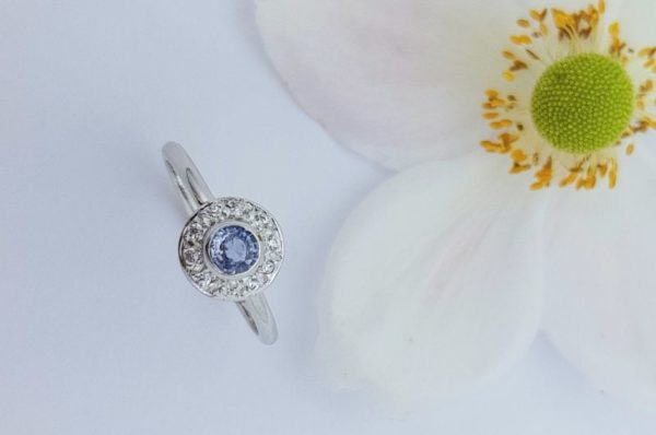 Ženski prstan iz belega zlata s cirkoni Modri Safir sestavljiv