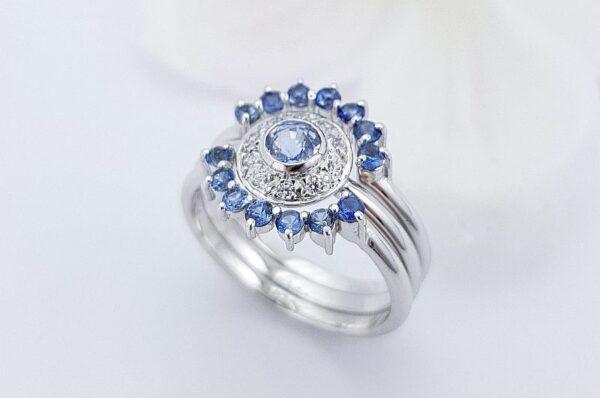 Ženski prstan iz belega zlata s cirkoni Modri Safir 3v1 sestavljiv