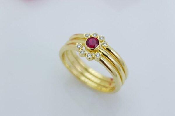 Ženski prstan iz rumenega zlata rubin 3v1 sestavljiv