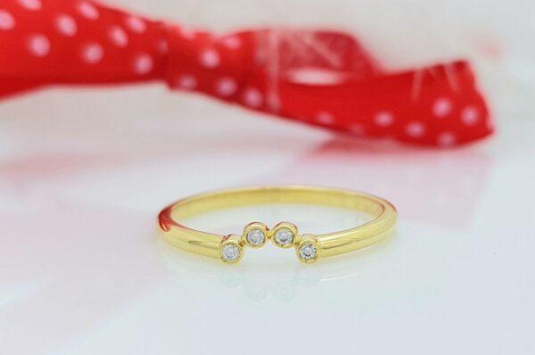 ženski prstan iz rumenega zlata s cirkoni mini sestavljiv