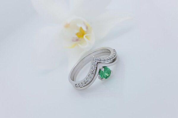 Ženski prstan iz belega zlata s cirkoni V 2v1 sestavljiv
