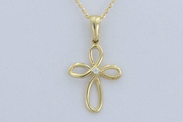 križ s cirkonom iz rumenega zlata