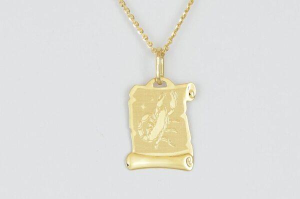 nebesno znamenje škorpijon ploščica iz rumenega zlata