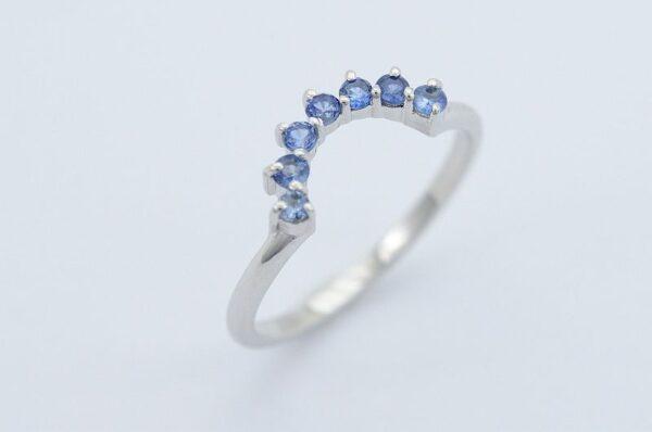 Ženski prstan iz belega zlata Modri Safir sestavljiv