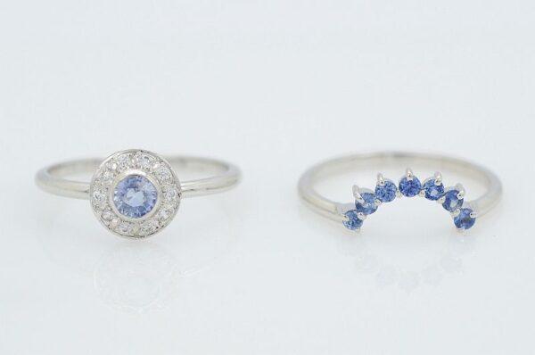 Ženski prstan iz belega zlata s cirkoni Modri Safir 2v1 sestavljiv