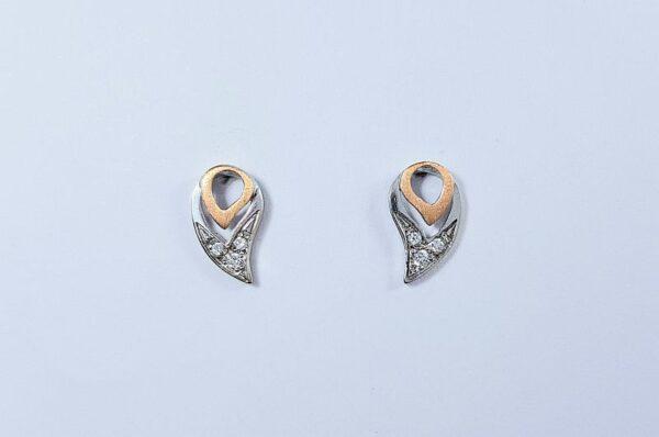 Ženski uhani iz belega in rdečega zlata kapljica s cirkoni