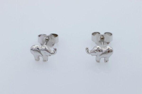 Otroški uhani iz belega zlata slonček