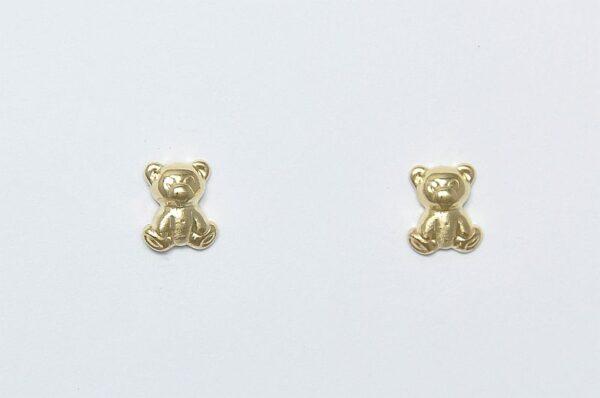 otroški uhani iz rumenega zlata medvedek