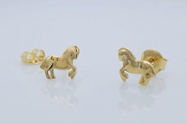 Otroški ali ženski uhani iz rumenega zlata konj