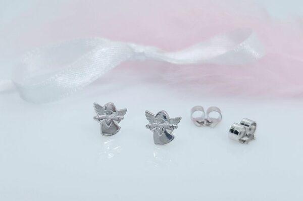 Otroški uhani iz belega zlata mini angel srce