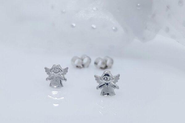 Otroški uhani iz belega zlata mini angel križ