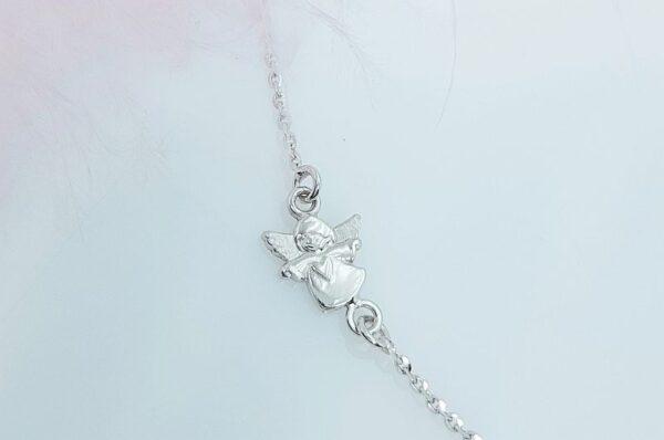 Otroška ali ženska verižica iz belega zlata anker z mini angelom