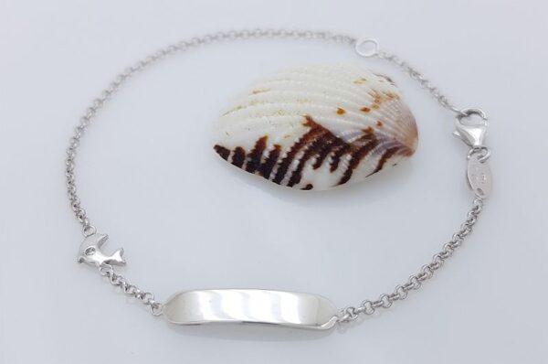Otroška zapestnica iz belega zlata s ploščico delfin