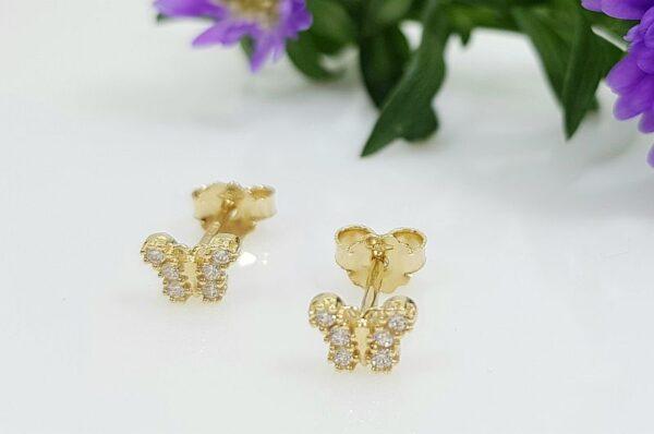 Otroški uhani iz rumenega zlata metulji s cirkoni