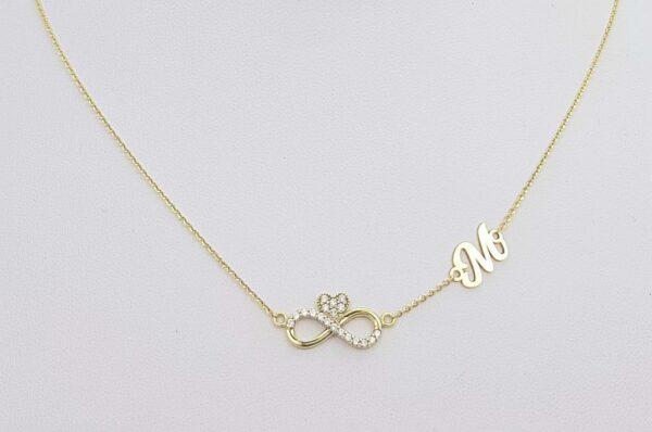 Ženska verižica iz rumenega zlata neskončnost s cirkoni srce inicialka