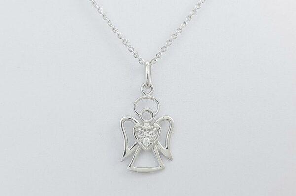 Otroški ali ženski obesek iz belega zlata, angel s cirkoni v srčku