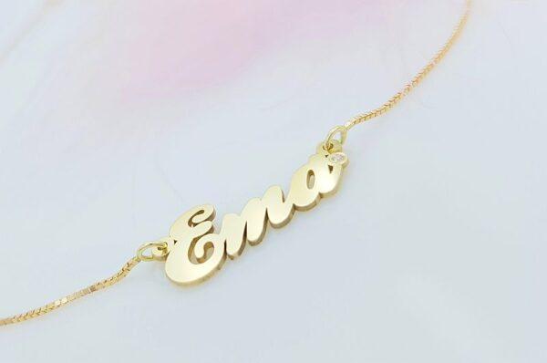 Ženska ali otroška verižica iz rumenega zlata ime