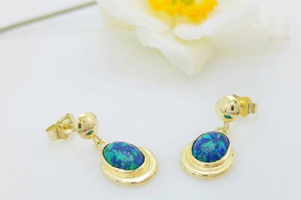 Ženski uhani iz rumenega zlata viseči modro zelen sintetičen opal