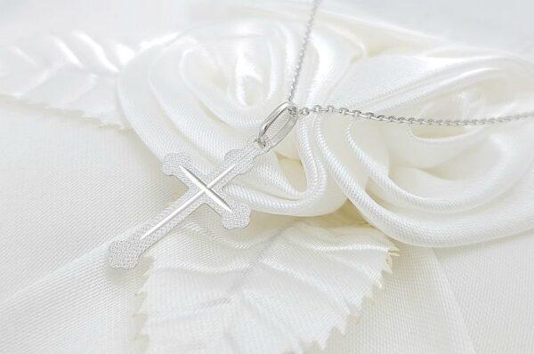 Otroški obesek iz belega zlata pravoslavni diamantiran križ