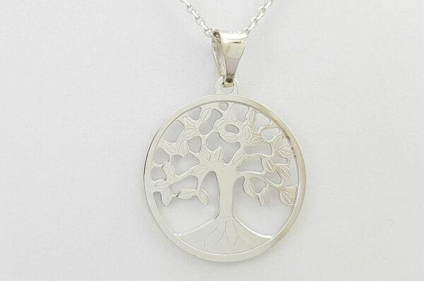 Ženski obesek iz belega zlata drevo življenja 21 mm