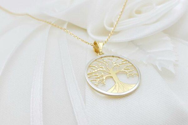 Ženski obesek iz rumenega in belega zlata drevo življenja 17 mm