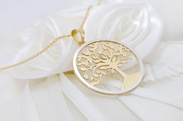Ženski obesek iz rumenega in belega zlata drevo življenja
