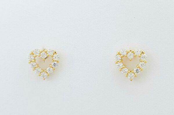 Otroški ali ženski uhani iz rumenega zlata srce s cirkoni