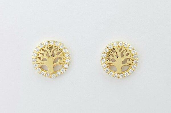 Ženski uhani iz rumenega zlata drevo življenja s cirkoni
