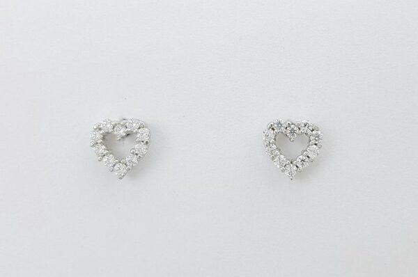 Otroški ali ženski uhani iz belega zlata srce s cirkoni