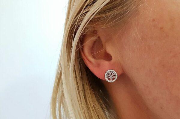 Ženski uhani iz belega zlata drevo življenja s cirkoni