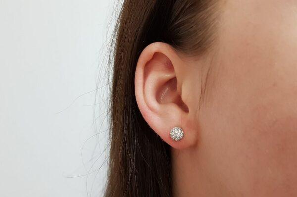 Ženski uhani iz belega zlata, bunkica s cirkoni 6mm