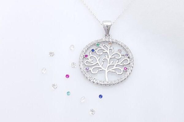 Srebrn ženski obesek z barvnimi cirkoni drevo življenja